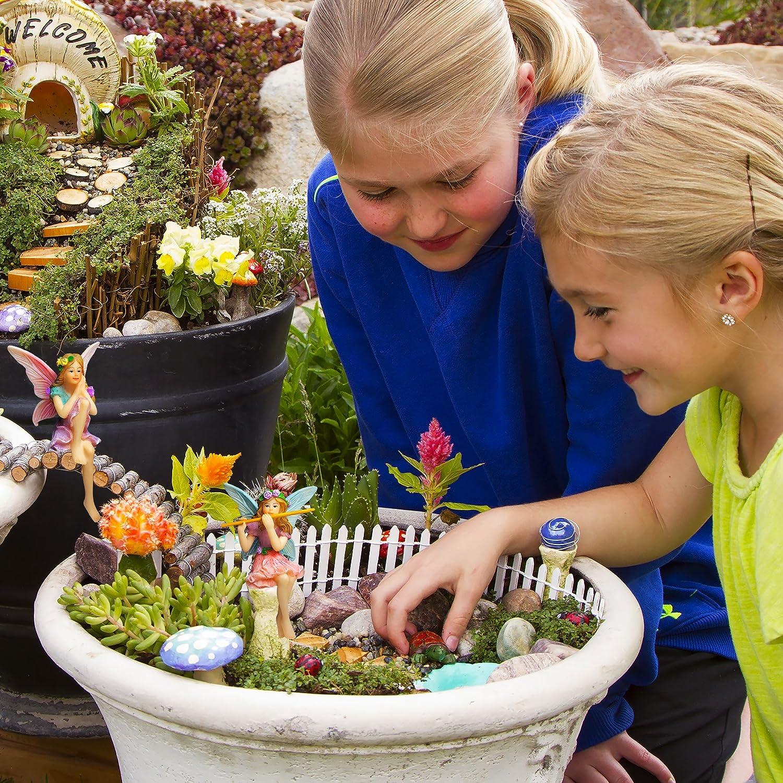 Sitting Girls Set of 2 pcs Mood Lab Fairy Garden Kit for Outdoor or House Decor Miniature Garden Fairies Fairy Figurines