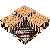 Yaheetech 27PCS Interlocking Patio Deck Tiles Outdoor Flooring for Patio Garden Deck Poolside Fir Wood Indoor Outdoor Natural
