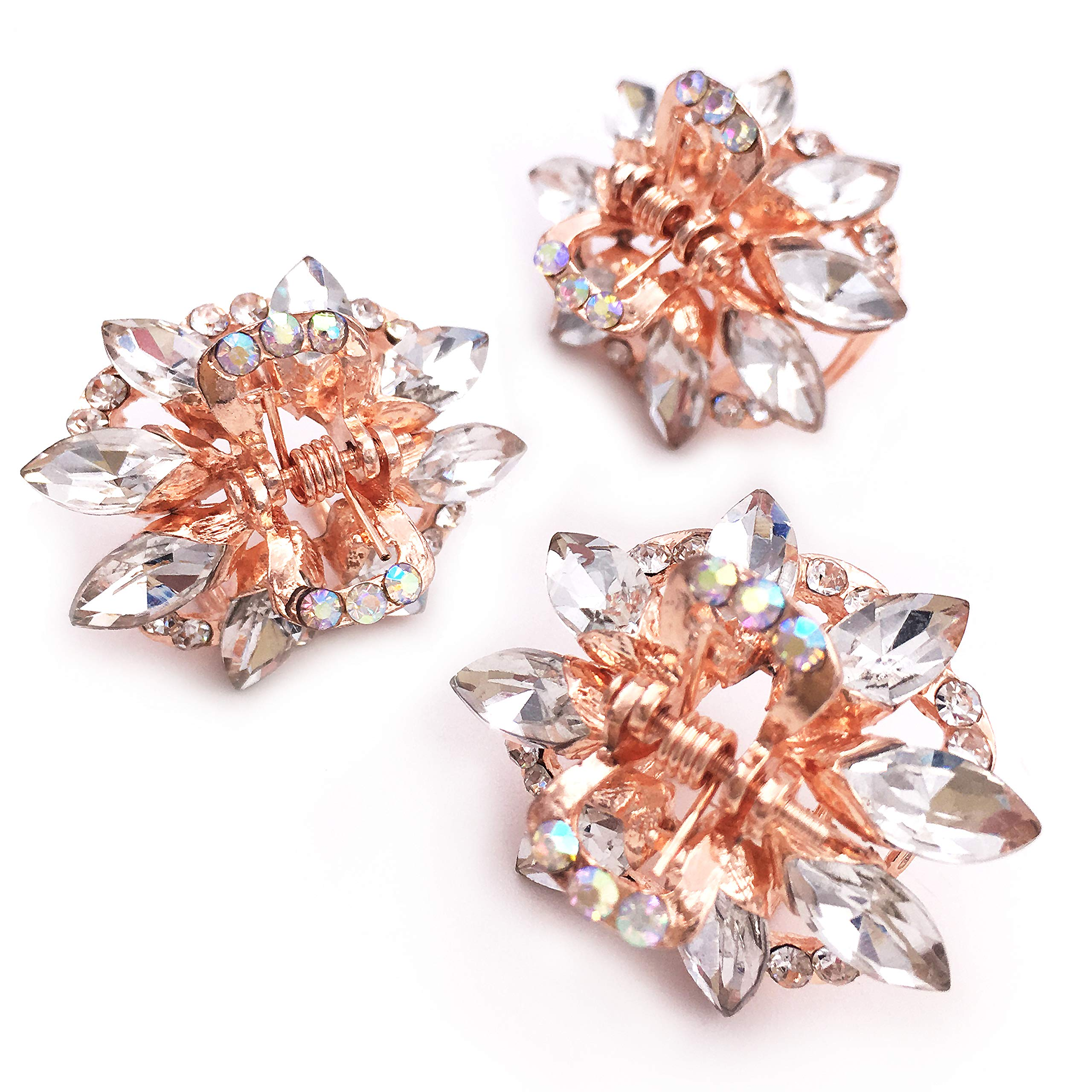 3PCS Crystal Rhinestone Rose Gold Tone Small Metal Hair Claw Clip for Women Girls