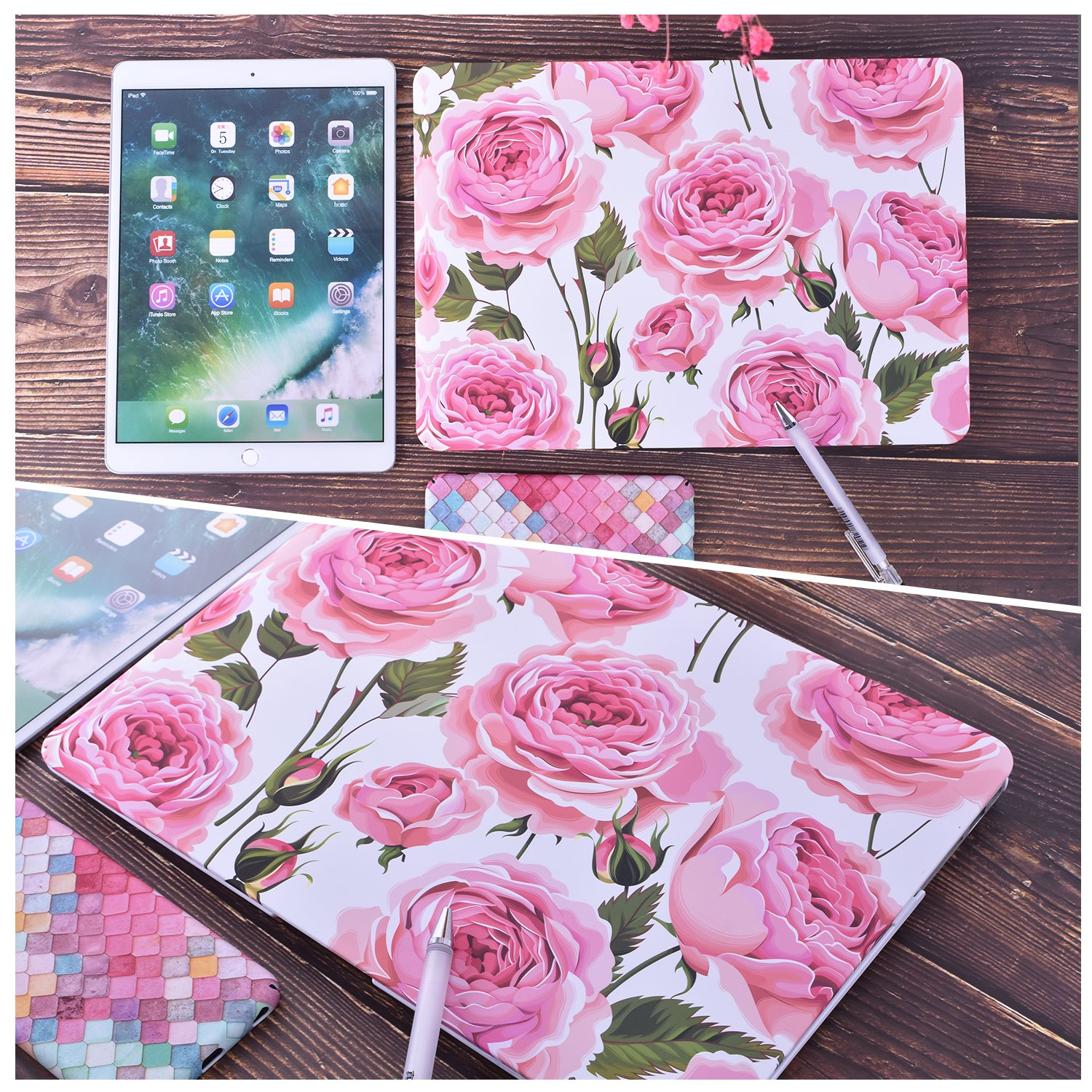 EGONE Hard Plastic Protective Case Soft-Touch For Apple Macbook Air 13 Inch Model A1369 And A1466(2012-1017), Flower