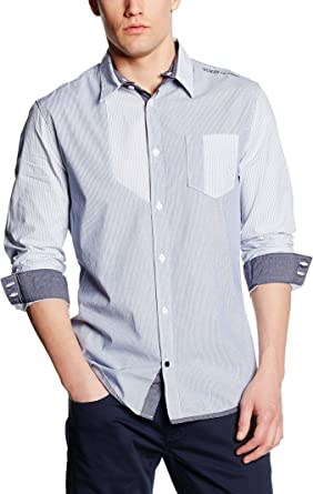Guess Camisa Hombre Stretch Mixtri Cielo L: Amazon.es: Ropa