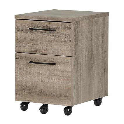 South Shore Munich 2 Drawer Mobile File Cabinet, Weathered Oak