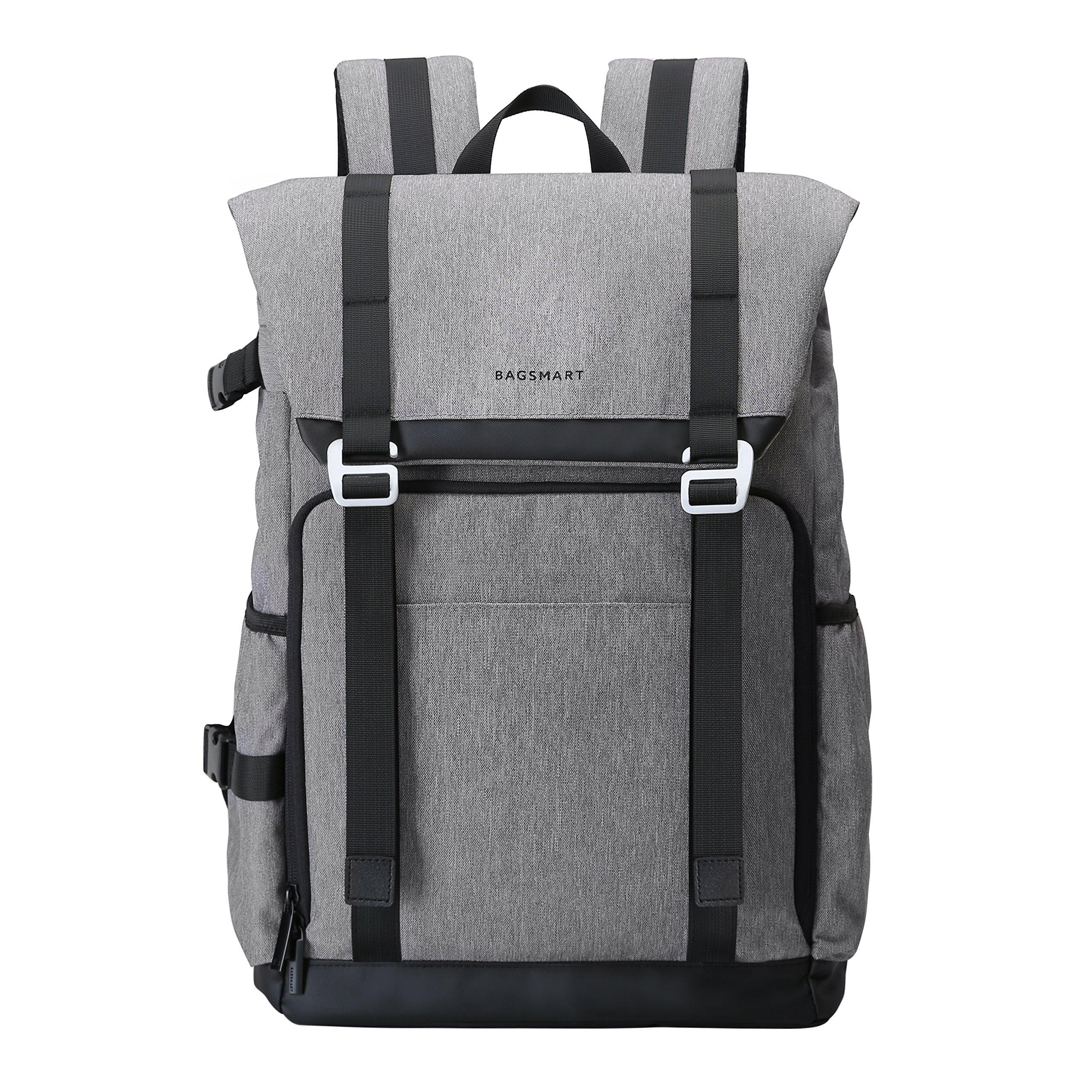 BAGSMART Camera Backpack for SLR/DSLR Cameras & 15'' Laptop with Waterproof Rain Cover & Tripod Holder, Grey