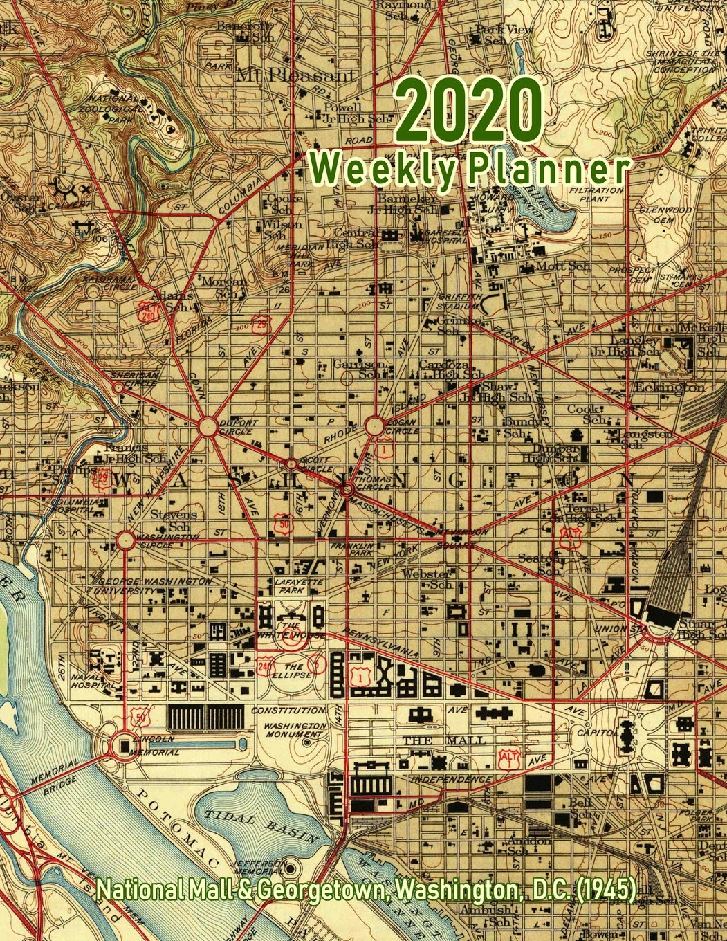 Amazon.com: 2020 Weekly Planner: National Mall & Georgetown ... on dc rock creek park map, dc penn quarter map, dc verizon center map, dc monuments map to print, dc pentagon map, dc cherry blossom festival map, dc metro map, dc capitol hill map, wash dc mall area map, dc federal triangle map, dc providence hospital map, dc united states map, dc national zoo map, brochure of dc attractions map, dc nationals stadium map, dc foggy bottom map, dc mall map museums, dc cleveland park map, dc capitol building map, dc union station map,