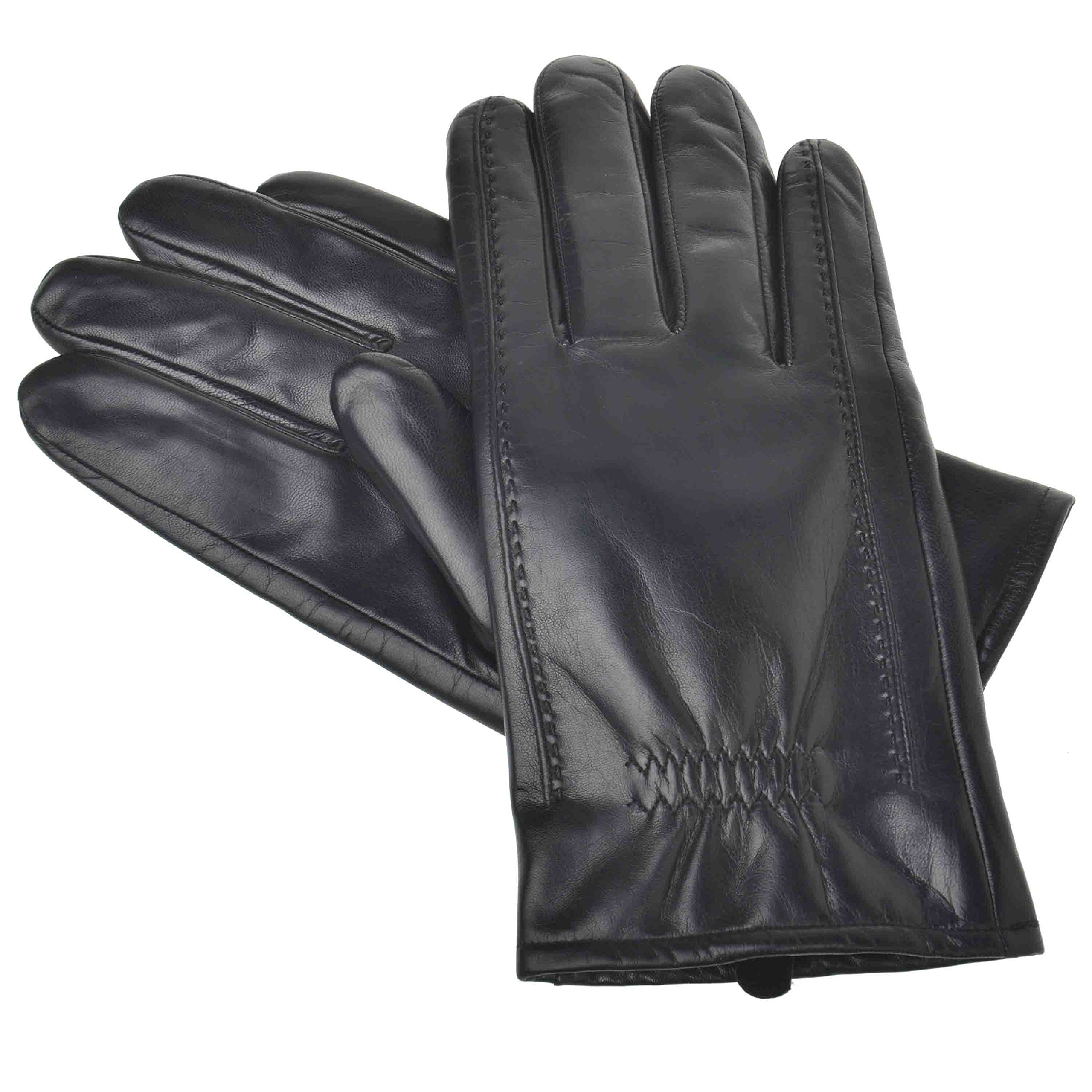 YISEVEN Men's Buttery-Soft Lambskin Leather Gloves Fleece Lined for Spring or Winter Hand Warm Fur Heated Lining Dress and Motorcycle Driving Real Luxury Stylish Holiday Xmas Gift, Black 9''/Medium
