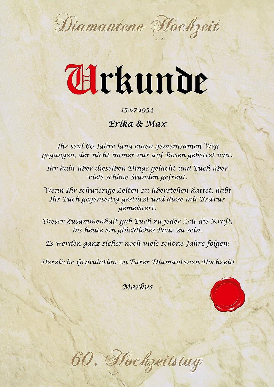 Diamantene Hochzeit Urkunde Personalisiert Geschenk Karte Zum 60