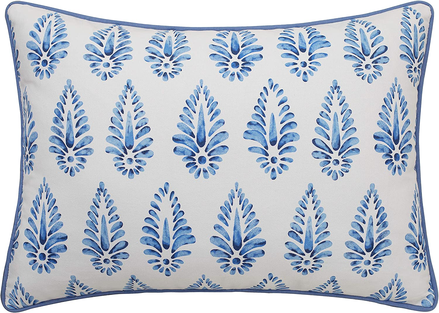 """MANOJAVAYA 14""""X20"""" Block Navy Blue Print Cotton Decorative Oblong Throw Pillow Cover for Sofa Living Room Guest Couch New Home Decor Chair Bohemian Patio Bedroom Office (14""""X20"""", Booti(Blue))"""