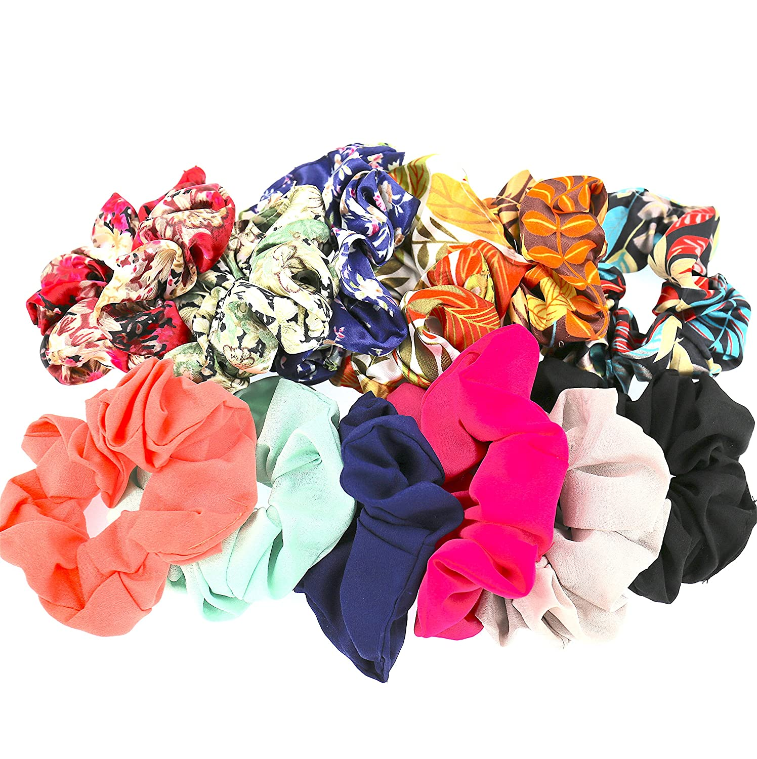 Set of 12 Women Hair Accessories Girls Multicolored Pattern Scrunchies for Hair Comelyjewel HA260400A-SETOF12-A