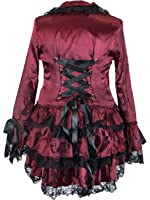 Plus Size Victorian Steampunk Gothic Punk Corset Red Satin Ruffled Tail Jacket