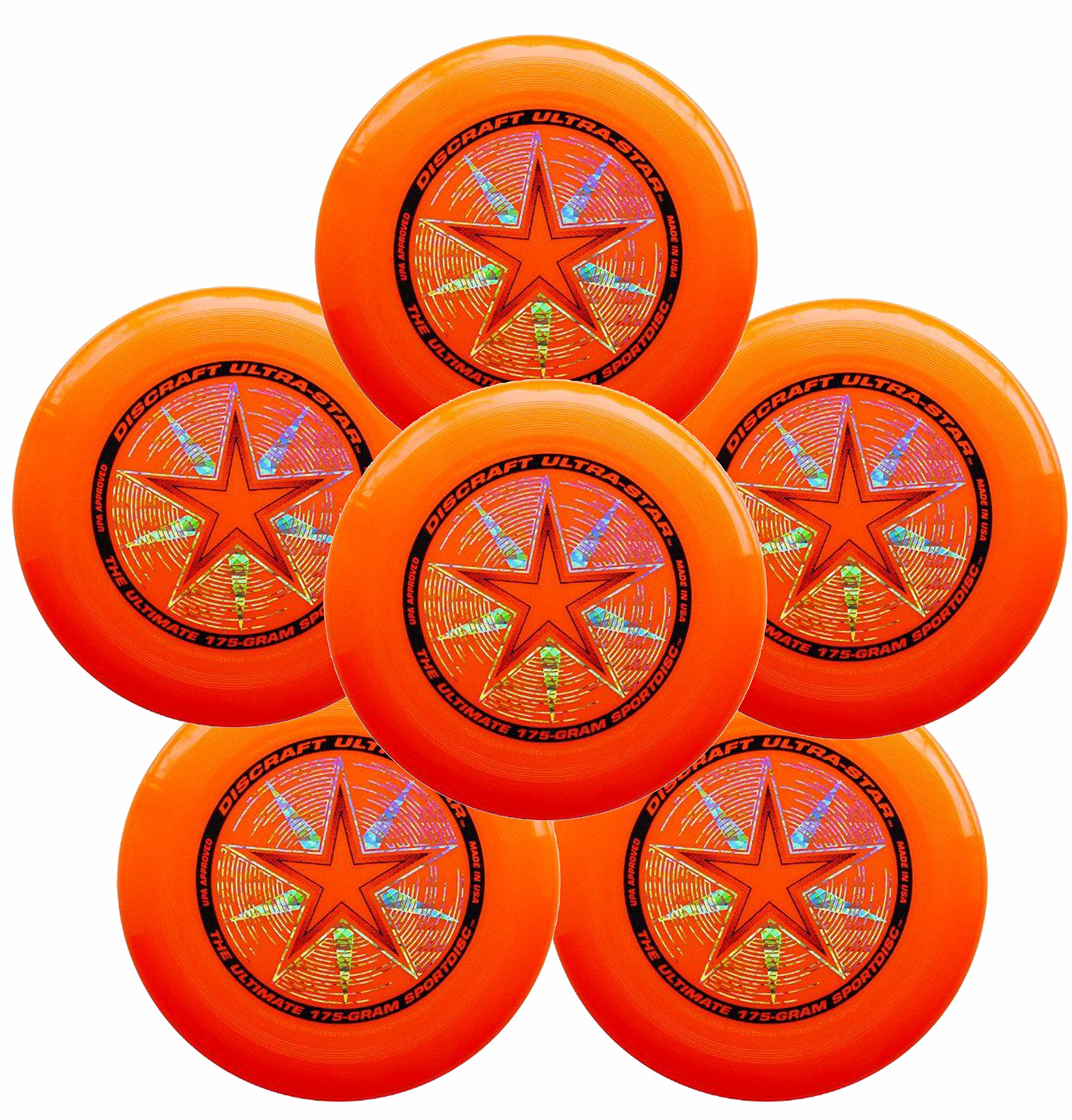 Discraft Ultra-Star 175g Ultimate Frisbee Sport Disc (6 Pack) Orange
