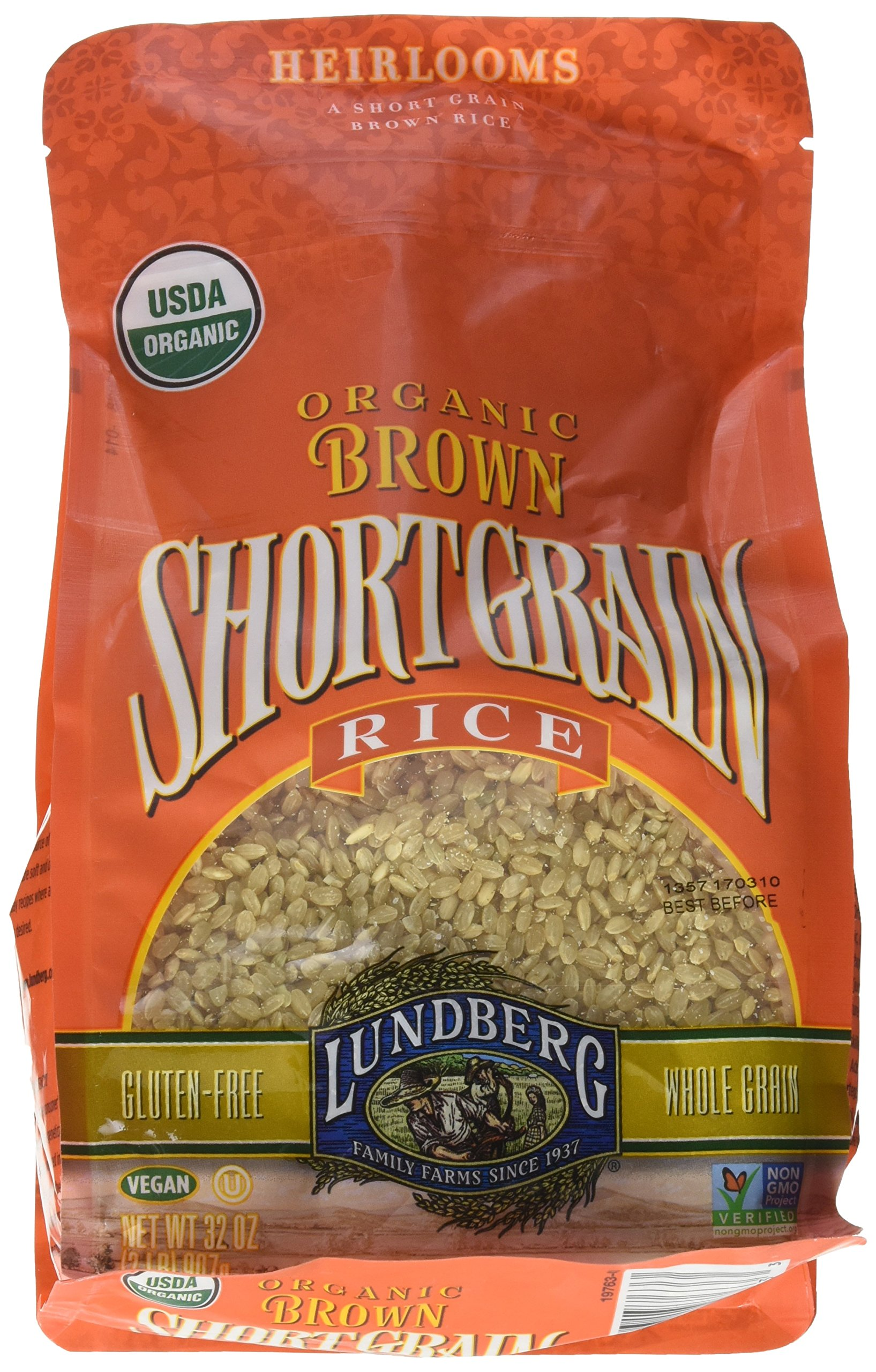 Lundberg Organic Short Grain Brown Rice -- 2 lbs - 2 pc