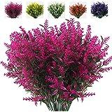 RECUTMS 8 Bundles Artificial Flowers Fake Outdoor Plants Faux UV Resistant Lavender Flower Plastic Shrubs Indoor Outside Hang