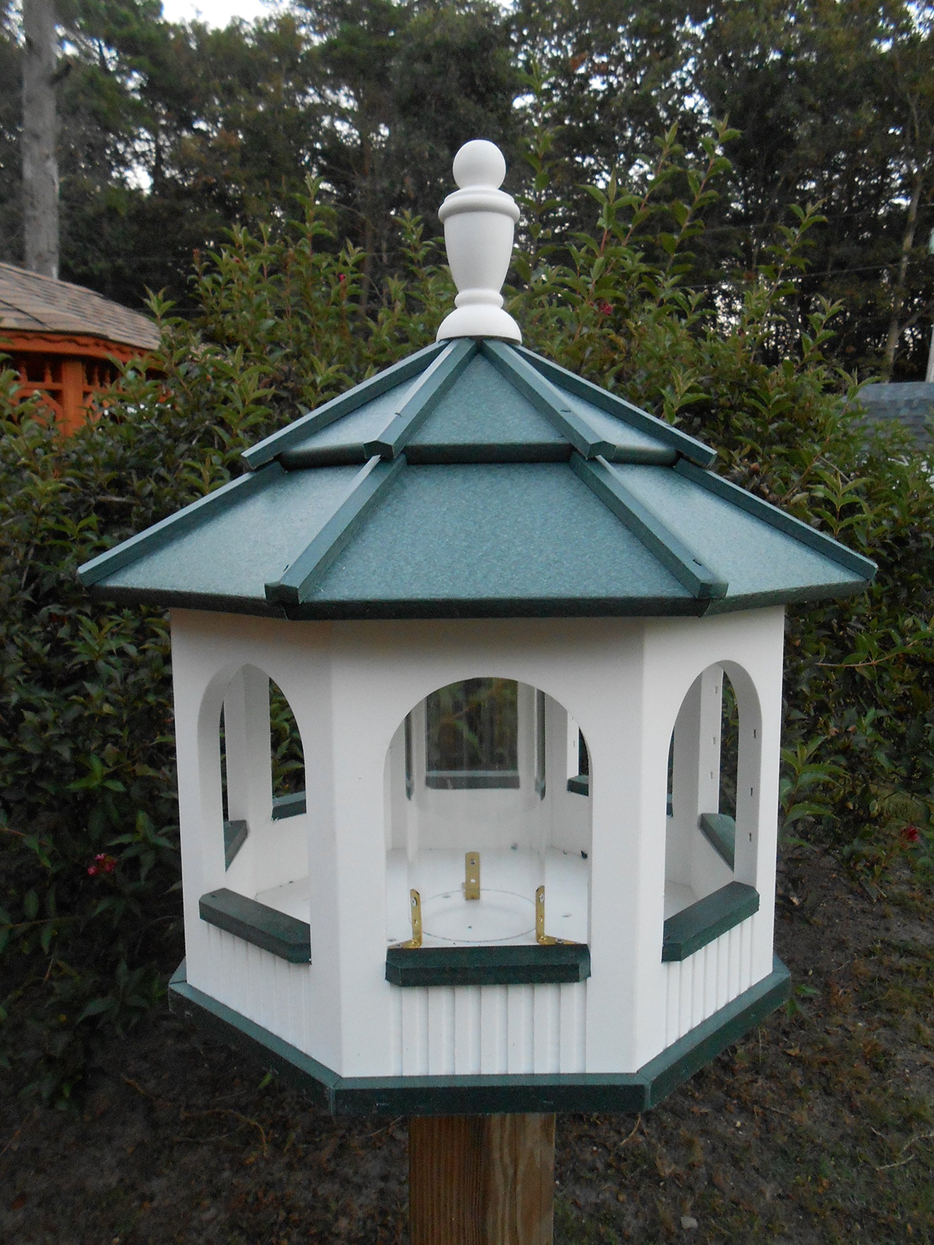 Large Gazebo Vinyl Bird Feeder Amish Homemade Handmade Handcrafted White & Green by Amish Crafted