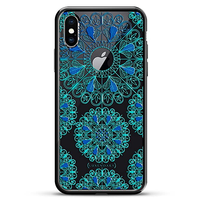TURQUOISE AND BLUE MANDALAS W/ CIRCLE | Luxendary Chrome Series designer case for iPhone X in Titanium Black trim