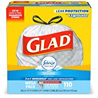 Deals on 110-Count Glad Tall Kitchen Drawstring Trash Bags 13 Gallon