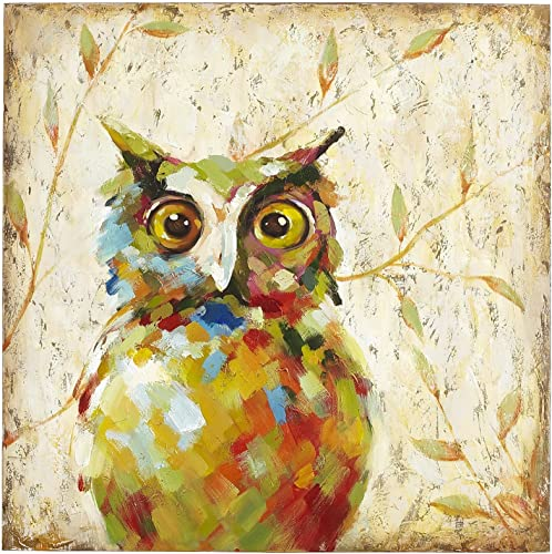 UAC WALL ARTS 100 Hand Painted Animal Oil Painting Colorful Owl Canvas Art with Stretched Frame on Canvas Wall Art for Home Decor Ready to Hang 32x32Inch,Quirky Owl Art