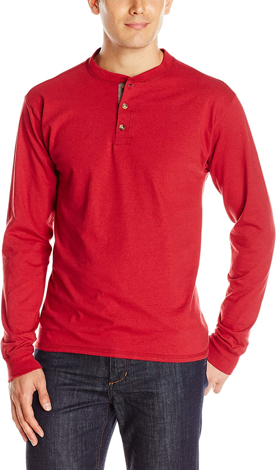 Hanes Men's Long-Sleeve Beefy Henley Shirt