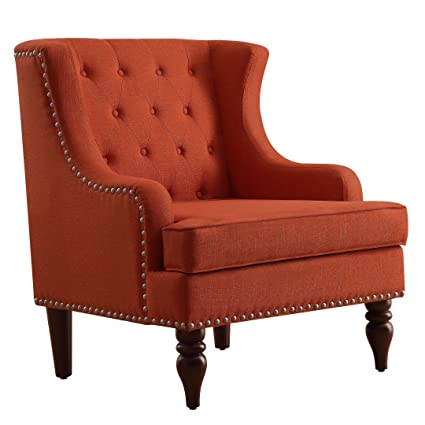 Rosevera Home Rosso Tufted Fabric Accent Chair Wingback Club Chair, Orange