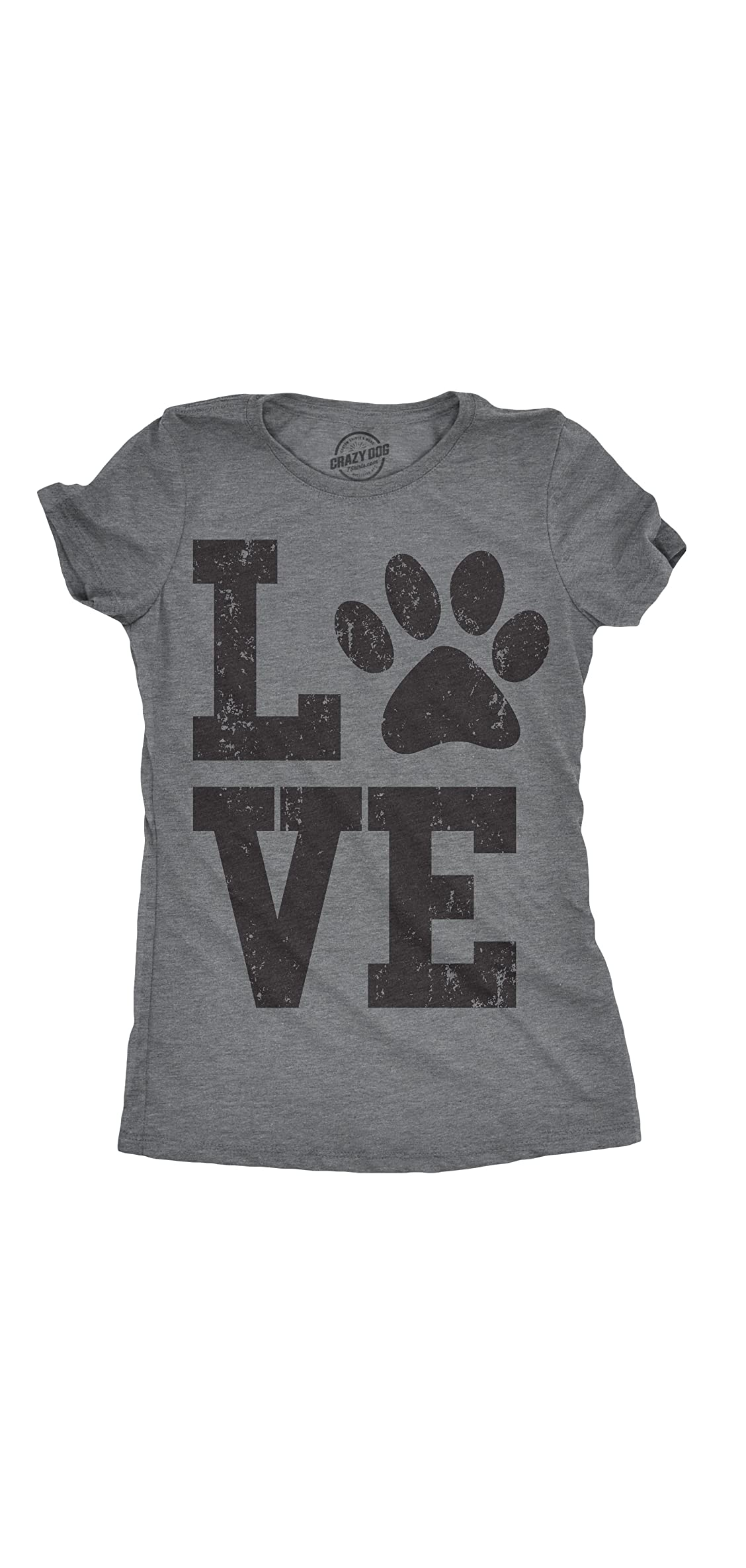 Womens Love Paw T Shirt For Dog Mom Pet Lover Cool Funny Graphic