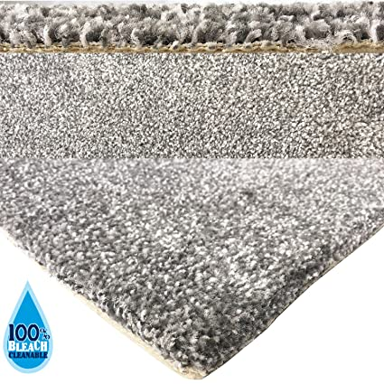 Bleach Cleanable Soft Saxony SILVER GREY Carpet Hessian Backing 4M Width - Sold per 25cm Quality