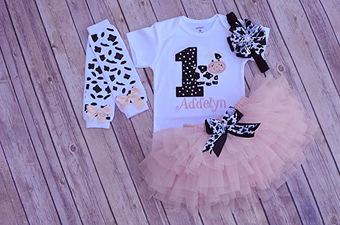 amazon com cow birthday outfit first birthday outfit girl barn yard