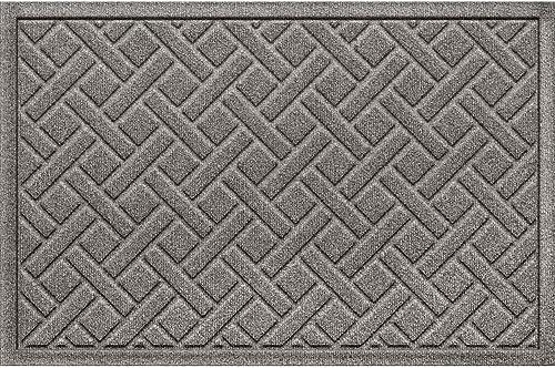 Bungalow Flooring Waterhog Doormat, 2 x 3 Made in USA, Durable and Decorative Floor Covering, Skid Resistant, Indoor Outdoor, Water-Trapping, Lattice Design, Medium Gray