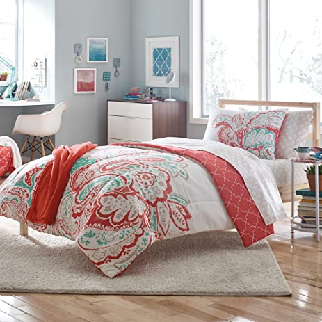 Amazon.com: Aria 7-Piece Reversable Twin/Twin XL Comforter Set: Home ...