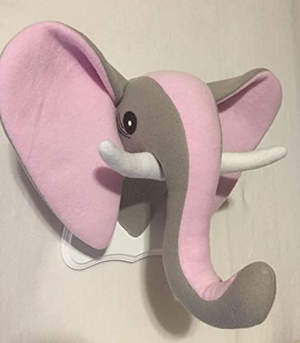 Amazon Com Stuffed Pink And Gray Elephant Head Stuffed Elephant