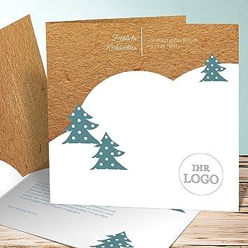 Weihnachtssprüche Geschäftlich Für Karten.Weihnachtsgrüße Geschäftlich Winter Forest 900 Karten Quadratische Klappkarte 145x145 Inkl Weiße Umschläge Grün