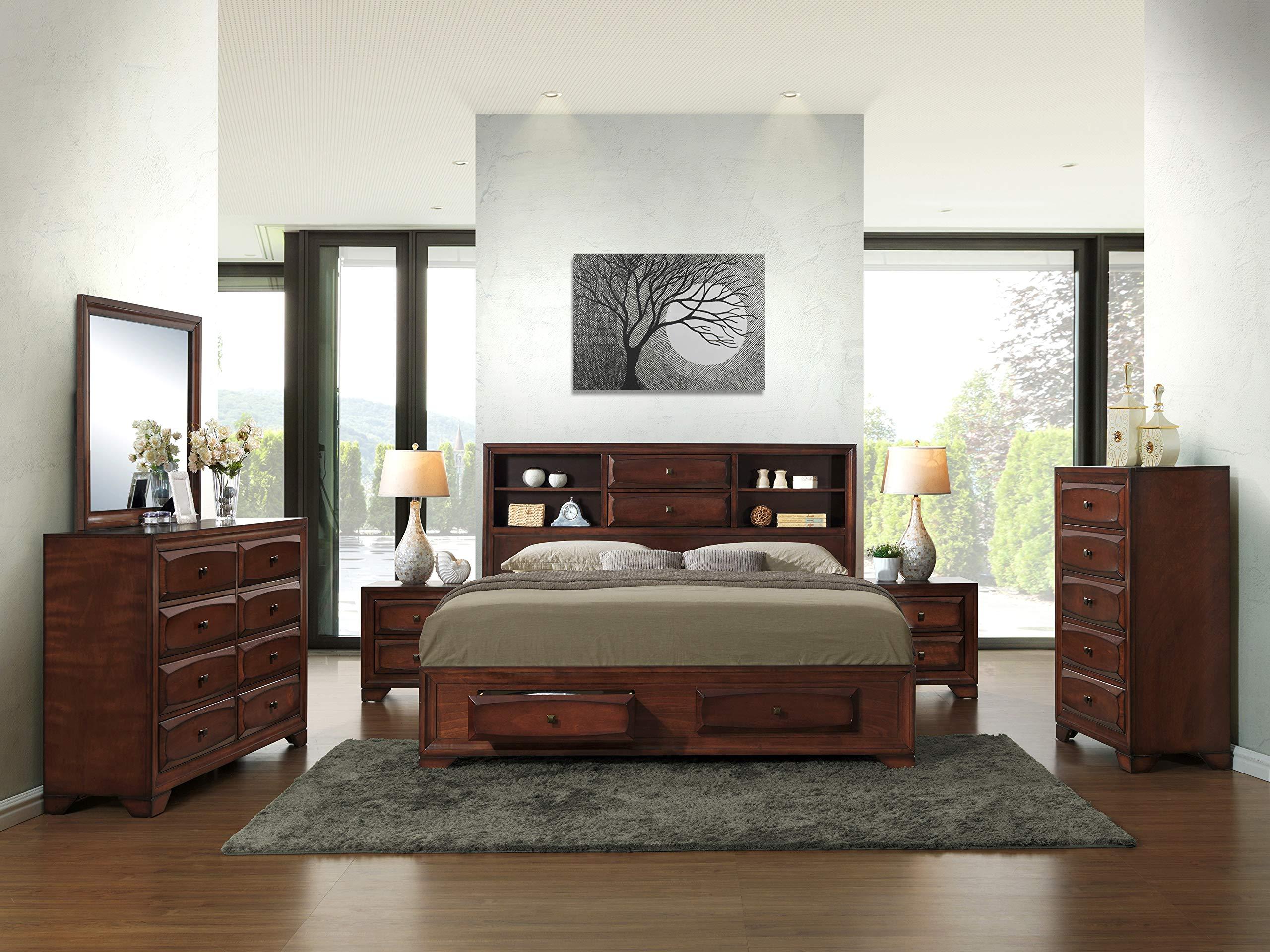 Roundhill Furniture B139BKDMN2C Asger Wood Bed Room Set, King, Antique Oak Finish