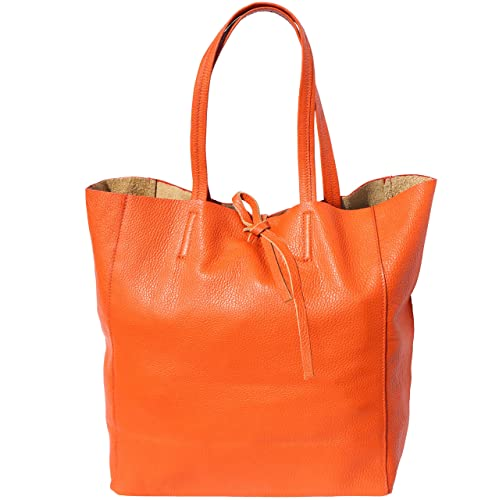 FLORENCE LEATHER MARKET SHOPPING BAG CON LACCETTO IN PELLE 9121 (Arancio) 464c079d451