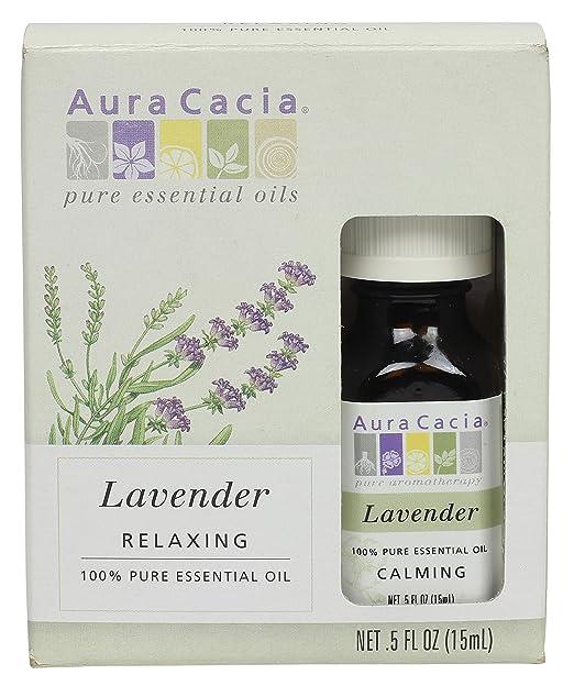 Aura Cacia Essential Oil – Lavender Oil, 0.5 Fluid Oz. Herbal Aroma Oil, Massage Oil, Organically Grown. Aromatic Essential Oil