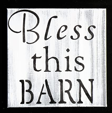 Amazon com: Olga212Patrick Bless This Barn White Washed Canvas Hand