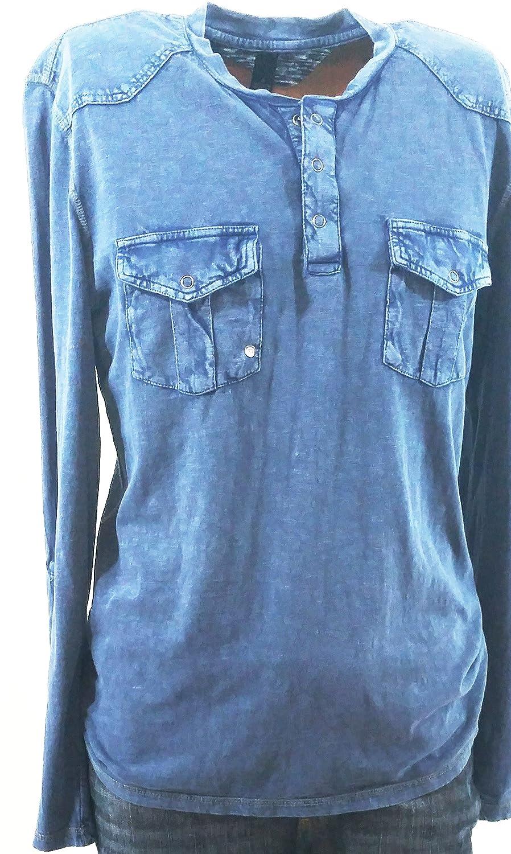 INC International Concepts Snap Crew Neck Henley Shirt Medium Indigo Wash