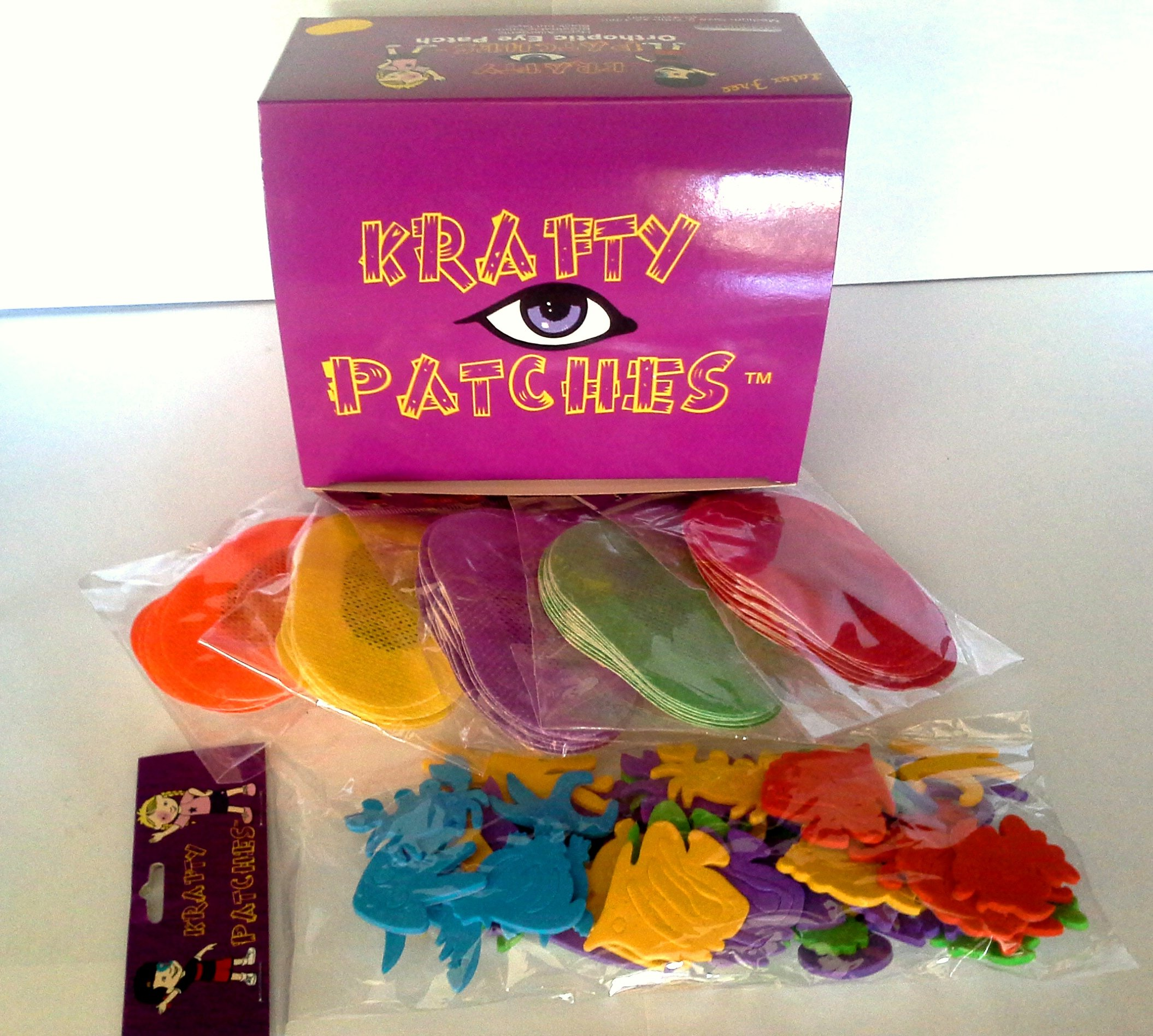 Krafty Eye Patches (Unisex) Medium Size (50 per box & 1 bag foam stickers for ages 0-4yrs old)