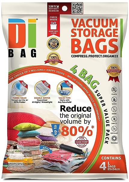 DIBAG - Bolsas de almacenaje al vacío de ropa para ahorrar espacio. 4 grande (
