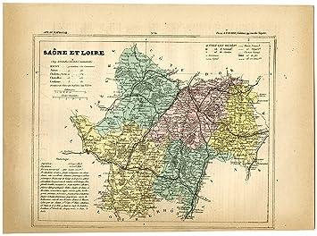 Macon France Map.Amazon Com Antique Print Saone Et Loire Macon Autun Charolles