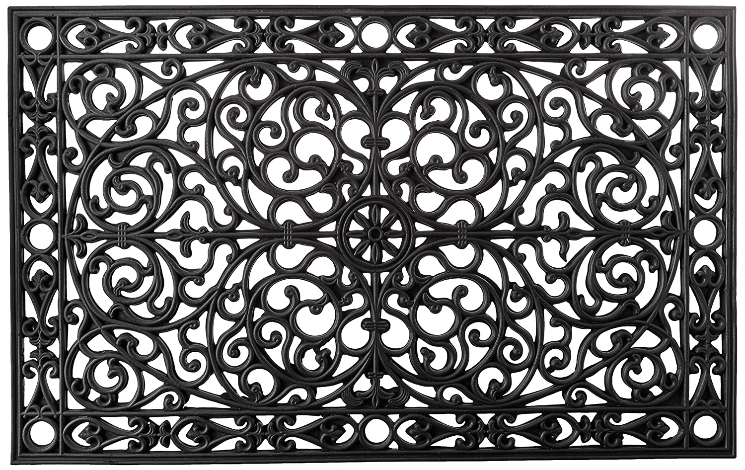 "Calloway Mills 900223048 Gatsby Rubber Doormat, 30"" x 48"", Black"