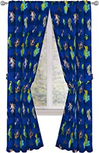 """Disney Toy Story Buzz & Woody 84"""" inch Drapes - Beautiful Room Décor & Easy Set Up, Bedding Features Forky, Ducky, & Bunny - Curtains Include 2 Tiebacks, 4 Piece Set (Official Disney Product)"""