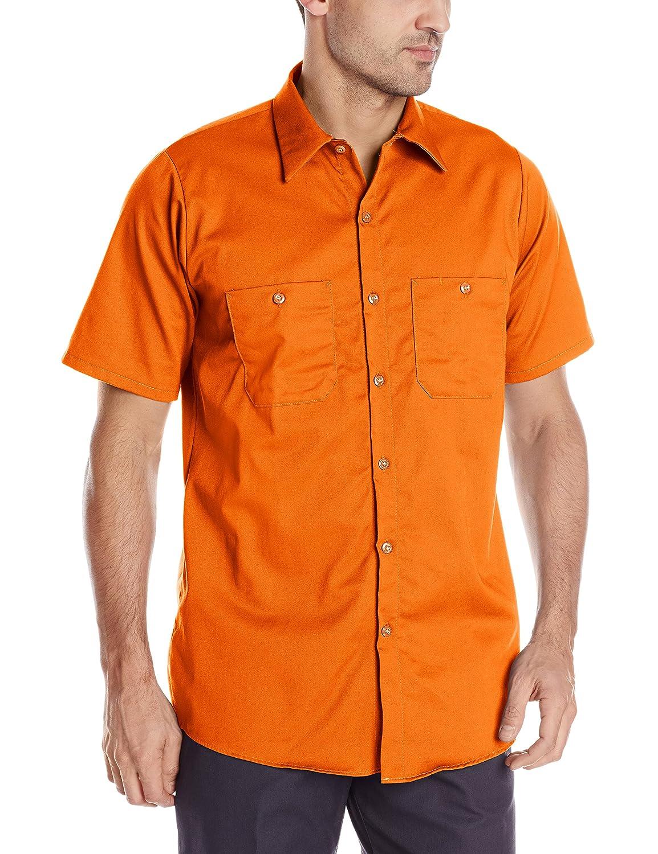 Red Kap Men 's Enhanced Visibility Cotton Workシャツ B007GC13B0 S オレンジ オレンジ S