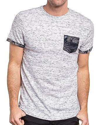 Shirt Deeluxe Rayé Homme Poitrine Fleuri Poche 74 Blanc T 11z7x4