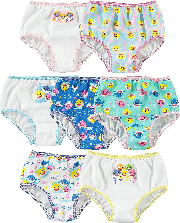 Baby Shark Girls' Toddler 7pk Panties