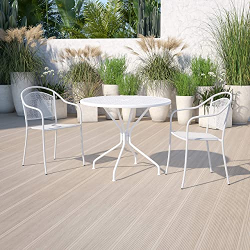 Flash Furniture Commercial Grade 35.25″ Round White Indoor-Outdoor Steel Patio Table