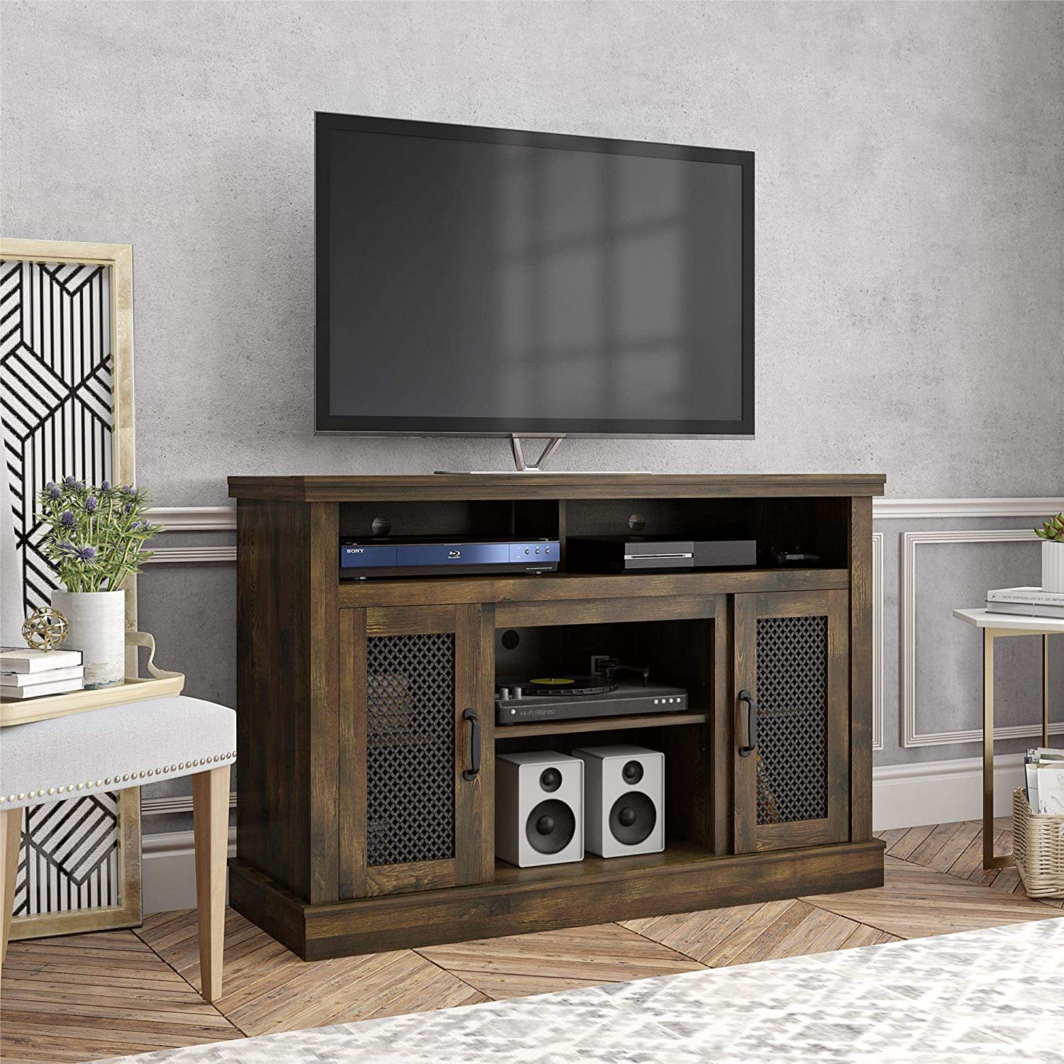 Ameriwood Home Cresthaven 54 , Rustic TV Stand,