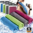 4pc Cooling Towel - Cooling Towels for Neck 4 Pack - Ice Towel Chilly Cool Towel for Athletes, Instant Chill Cooling Cloth as Cool Rags for Neck Cooling Wrap, Neck Cooler, Cold Towel for Hot Weather