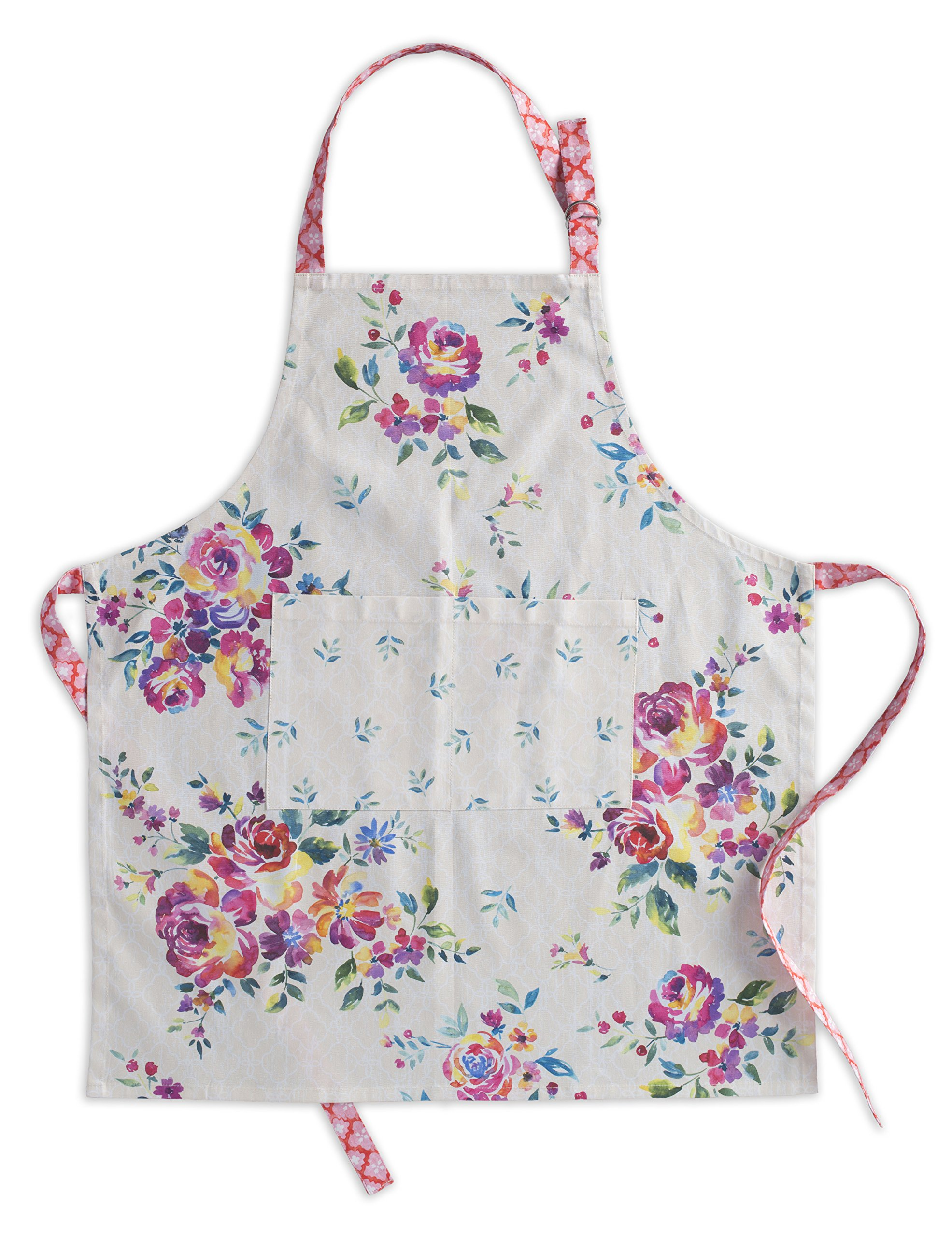 Maison d' Hermine Rose Garden 100% Cotton Apron with an adjustable neck & Visible center pocket 27.50 Inch by 31.50 Inch