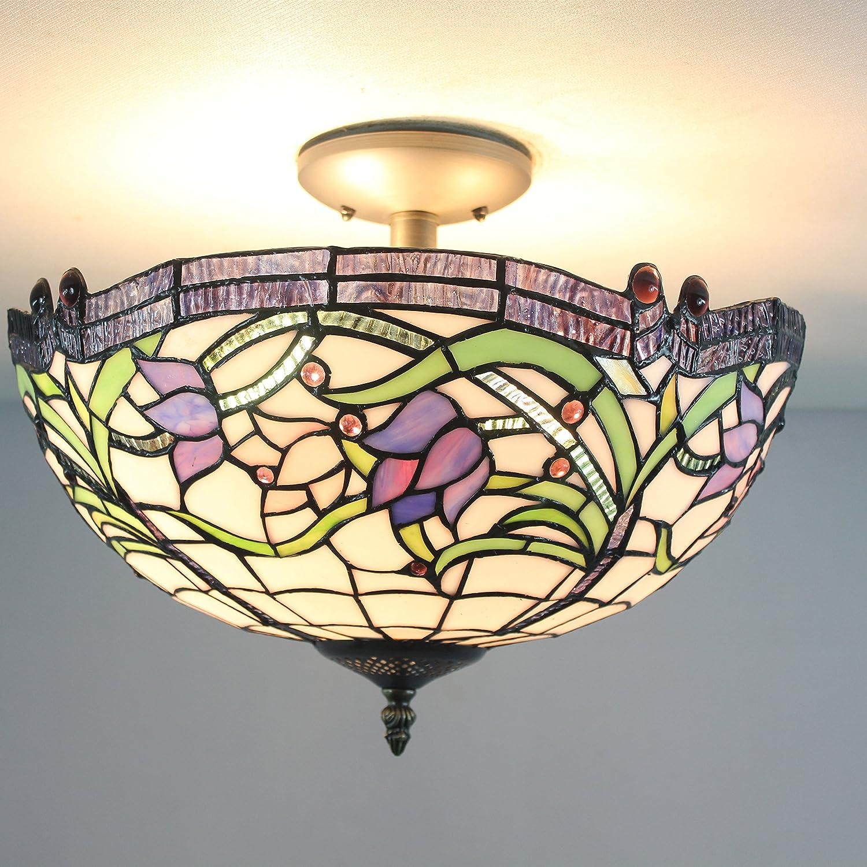 ETERN 16-Inch European Retro Style Elegant Sweet Purple Flower Stained Glass Flush Mount Ceiling Light Dining Room Light