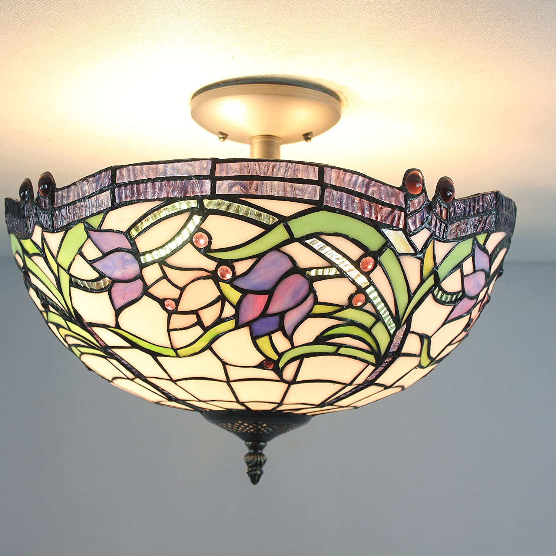 16-Inch European Retro Style Elegant Tiffany Sweet Purple Flower Stained Glass Flush Mount Ceiling Light Dining Room Light