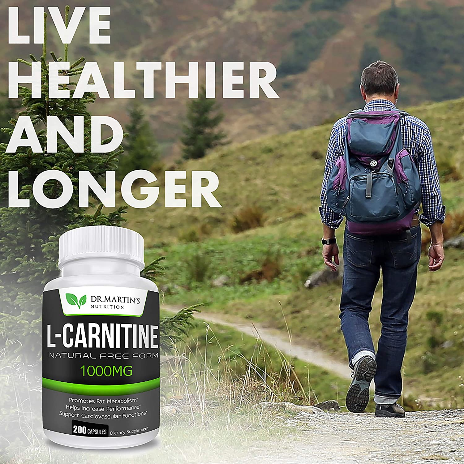 Extra Strength L-Carnitine - 200 Capsules - 1000mg Per Serving - Boost Your Metabolism and Increase Performance: Health & Personal Care