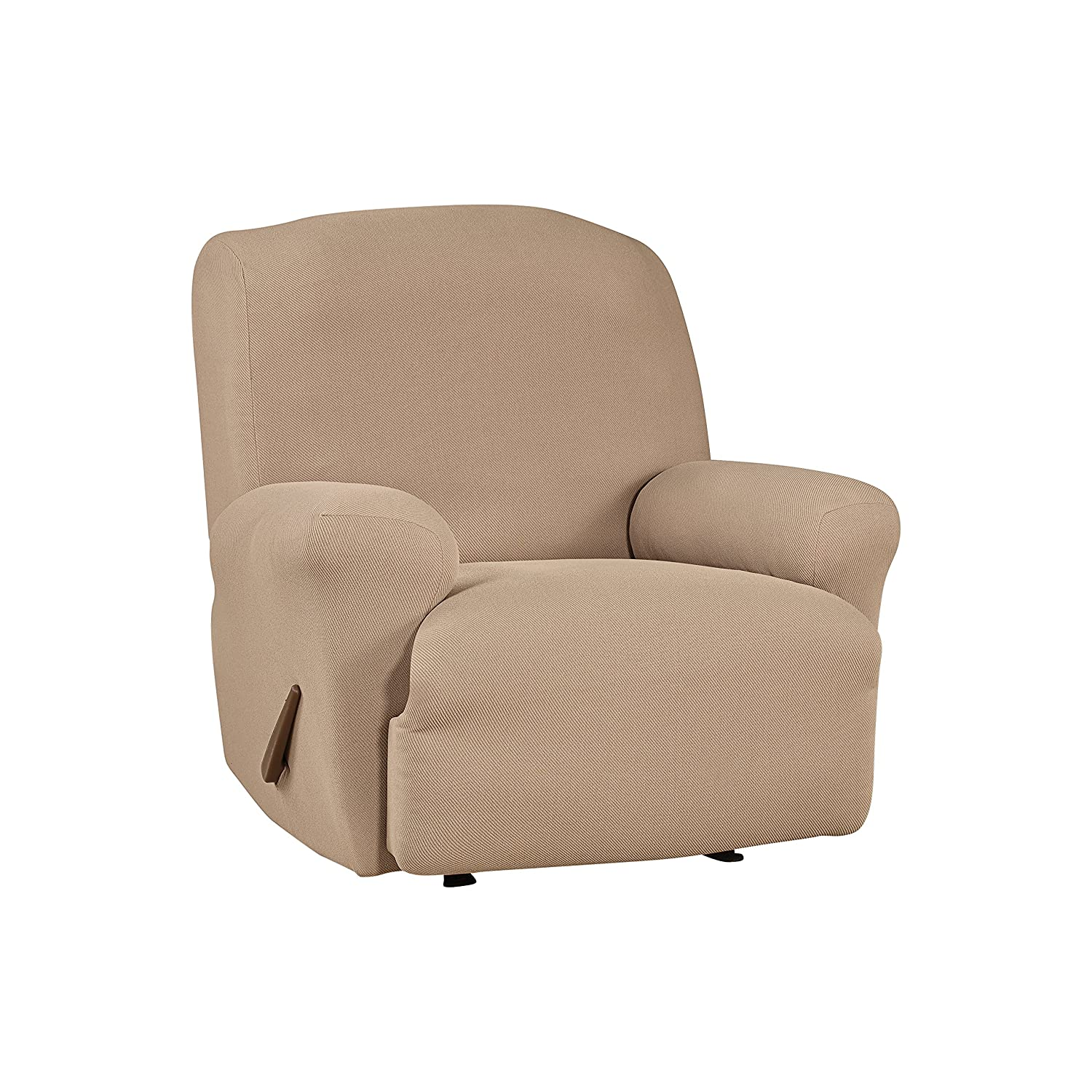 SF44468 Recliner Slipcover SureFit Simple Stretch Twill Chocolate
